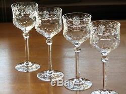 Kosta Boda Swedish Crystal Floral Cut Polished 5 1/2 Wine Goblets Set of 12