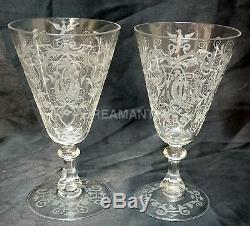 LOBMEYR Crystal Austrian 2 wine glass Gravé Lobmeyr Renaissance Th 1870
