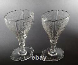 LOBMEYR Glass Crystal Austrian Hand Cut & Engraved Pair 5 Wine Stem c1870