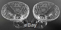 LOBMEYR Glass Crystal Austrian Hand Cut & Engraved Pair 6 1/2 Wine Stem c1870