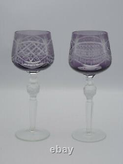 LOT of 2 ANTIQUE AMETHYST COLOR CUT TO CLEAR CUT CRYSTAL HOCK STEM WINE GOBLETS