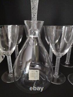Lalique Crystal PHALSBOURG Decanter & 7 Wine / Champagne Glasses French unique