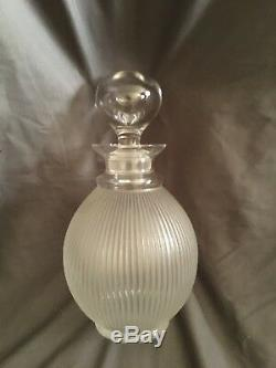 Lalique of FranceLANGEAIS Signed Frosted Ribbed Crystal Wine Decanter