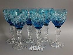 Large Heavy Cut To Clear Crystal Turquoise Blue Wine Glasses Set Of 6