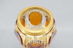 Late 19th Century Moser Amber Cut to Clear Crystal & Gilt Scrollwork Hock Wine