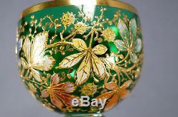 Late 19th Century Moser Emerald Crystal Hand Enameled Sweetgum Tree Hock Wine
