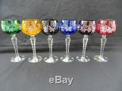 Lausitzfal Crystal Cut To Clear Wine Hock Glass Set Of 6 7 3/4 tall