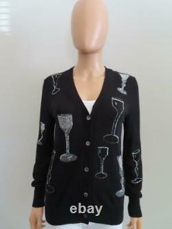 Libertine Black Cashmere Blend Crystal Wine Glasses Cardigan Sweater Size S