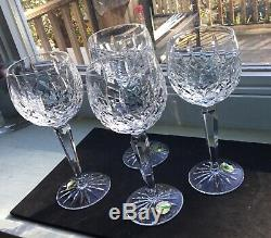 Lot 4 Waterford Crystal LISMORE Wine Hocks Goblets NNB Cabinet Glasses