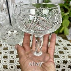 Lot Of 7 Antique Lead Crystal Wine Champagne Glasses Stems Stemware Cut Pressed