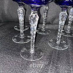 Lot Of 7 NACHTMANN TRAUBE 7 1/2 WINE GLASS COBALT BLUE CUT TO CLEAR CRYSTAL 6oz