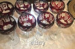 Lot Of 8-1940s Nachtmann Traube C Amethyst Wine Hock Stem Goblet 81/4 $300.00