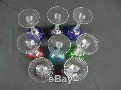 Lot of 8 Bohemian Colored Cut to Clear Crystal Wine Hock Goblets Glasses