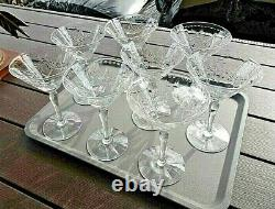 Lot of 8 Signed HAWKES Crystal HAW41 Champagne Tall Sherbet Wine Goblets Stem
