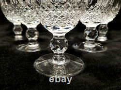 MINT 6 Vintage WATERFORD COLLEEN White Wine Crystal 4 1/2 Old Mark Short Stem