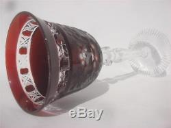 Meissen Meissener Bleikristall Germany Ruby Red Wine Cut Crystal Art Glass Cup