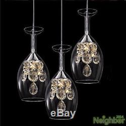 Modern Crystal Wine glass Pendant Lamp LED Light Chandelier Dining Room lighting