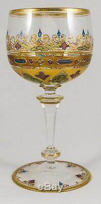 Moser Antique Set of 4 Gilt Enamel Crystal Wine Goblets Glasses