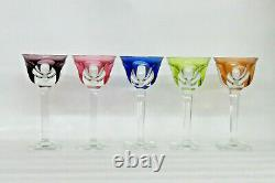 Moser Bohemian Czech Cut to Crystal Multicolor Set of 5 Wine Glasses Cups 1782B