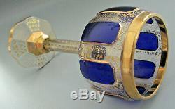 Moser Cobalt Blue Wine Glass Bohemian Cabochon Panel Glass 1910 era