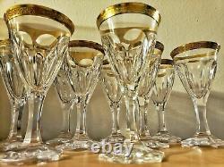Moser Crystal Glass Adela Melikoff 24KT Gold Encrusted Rim Red Wine RARE MINT