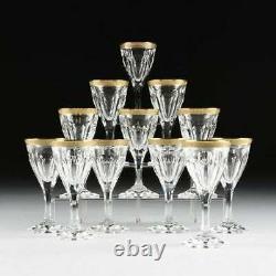 Moser Crystal Glass Adela Melikoff 24KT Gold guilded Rims White Wine or Cocktail