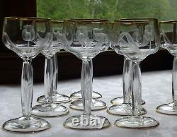 Moser antique crystal wine glasses intaglio tulip, set of 10 stemware