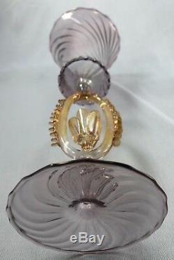 Murano Venetian Italian ROSE Wine / Goblet Crystal Glass SET OF 4! GORGEOUS