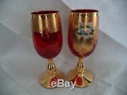 Murano blown crystal 6 wine stems red goblets & pitcher enamel flowers gold trim