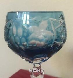 NEW Nachtmann Traube Wine Decanter Baby Blue Glasses Cut to Clear Crystal Set