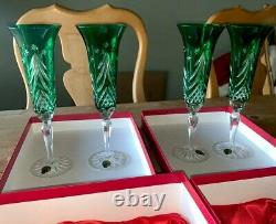 NIB 4 Waterford Emerald Green Cut Crystal Holiday Wine Champagne Flutes