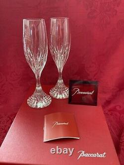 NIB FLAWLESS Stunning BACCARAT France Pair MASSENA Crystal CHAMPAGNE FLUTES WINE