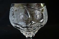 Nachtmann Bavaria Traube 6 Tall Wine Hocks Cut & Etch Crystal -Orig. Case 8 1/8