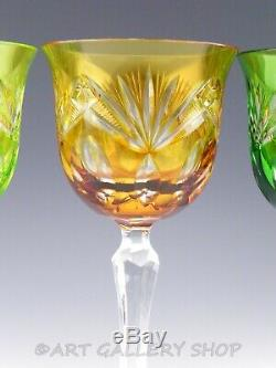 Nachtmann MULTI COLOR CRYSTAL CUT TO CLEAR 8-1/4 WINE HOCK GOBLETS Set of 6