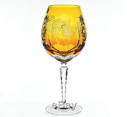 Nachtmann Traube Amber Gold Cut to Clear Crystal Wine Balloon 9.5 New Signed