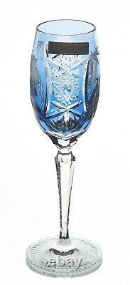 Nachtmann Traube Aqua Azure Blue Cut to Clear Crystal Tall Wine Champagne Flute
