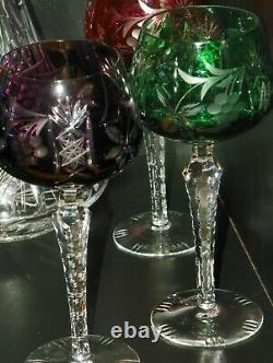 Nachtmann Traube Crystal Wine Glass Cut To Clear Set Of 6 Decanter 8 in 8 oz