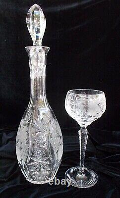 Nachtmann Traube Cut Crystal Wine Decanter and 6 Wine Hocks Perfect Condition