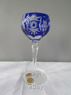 Nachtmann Traube Lot of 5 Cobalt Blue Cut to Clear Crystal Wine Glasses 7 NIB