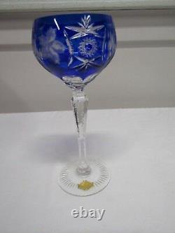 Nachtmann Traube Lot of 6 Cobalt Blue Cut to Clear Crystal Tall Wine Hocks 8 1/4