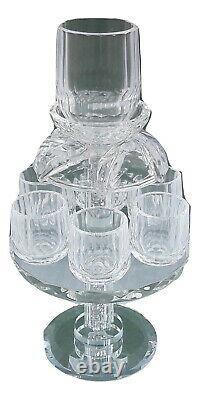 New Crystal 24% Wine Fountain Kiddush&6 cup Judaica israel W-Glass Chips Shabbat