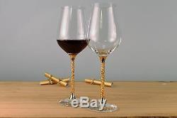 New Pair of 24ct Gold Leaf Stem Wine Glasses Goblet Gift Swarovski Golden Shadow