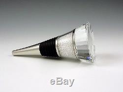 New Pair of Swarovski Crystal Filled Stem Wine Glasses & Wine Bottle Stopper Set
