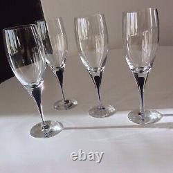 Orrefors Sweden Intermezzo Blue 4 Crystal Claret Wine Stems Erika Lagerbiekle