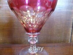 PAIR John Walsh/French CRYSTAL FRUITING VINE cut to clear LARGE WINES 5.6