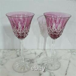 Pair St Louis Crystal Wine Glasses Amethyst Purple Stamped Cristal Saint Louis
