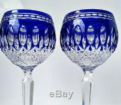 Pair Waterford Clarendon Cobalt Blue Lead-crystal Wine Glass Goblet