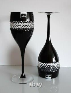 Pair Waterford John Rocha Black Cased Red Wine Goblets, New Without Box, Signed