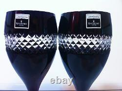 Pair Waterford John Rocha black large Red Wine Goblet, Hand cut double walled