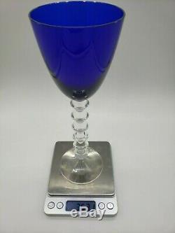 Pair of Cobalt Blue Baccarat Vega Style Wine Glasses